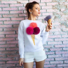 FY 2017 Fashion Women Tops Hot Seller removable fluffy ball ice cream cone print lady blouse & top long sleeve t shirt printing