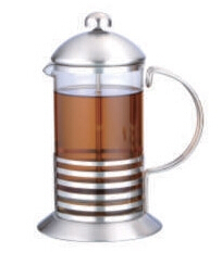 Small quantity stainless steel glass french press coffee maker