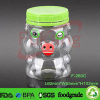 8oz plastic jars animal shaped plastic cookies containers