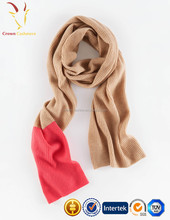 Lady Plain Knitted Color Block Pure Cashmere Scarf Pashmina Scarf/Shawl