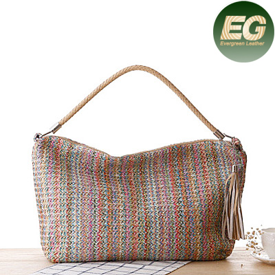 Women cheap natural straw bags color gradient beach bag T022