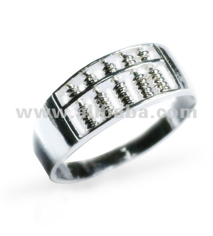 Abacus calculator Sterling Silver Ring