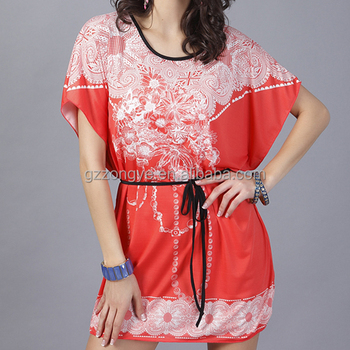 Guangzhou Clothing Wholesale Women Floral Print Ice Silk Short Dress