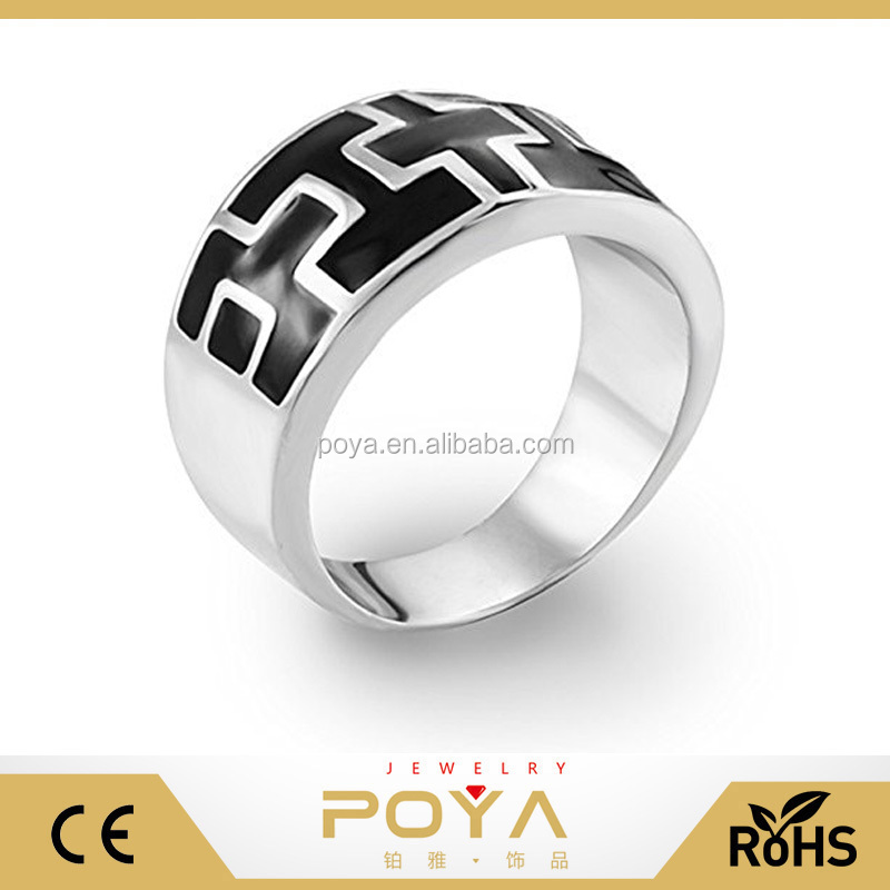 POYA Jewelry Decorative Men's Mayan Step Two-Tone Black Silver Stainless Steel Wide Band Ring