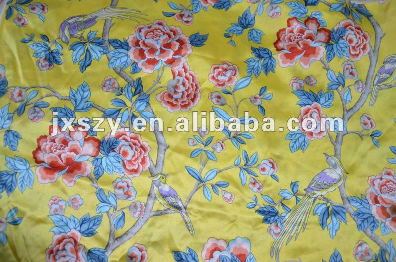 silk dress fabric pure silk fabric print 100% silk satin fabric