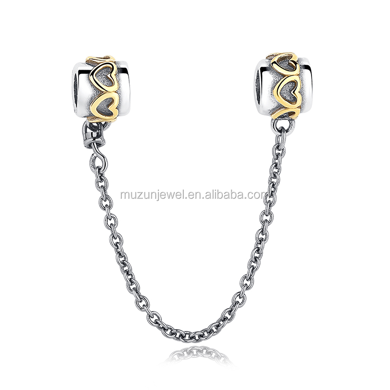 Gold Plated Heart Charms 925 Sterling Silver Safety Chain Fit Bracelet Jewelry