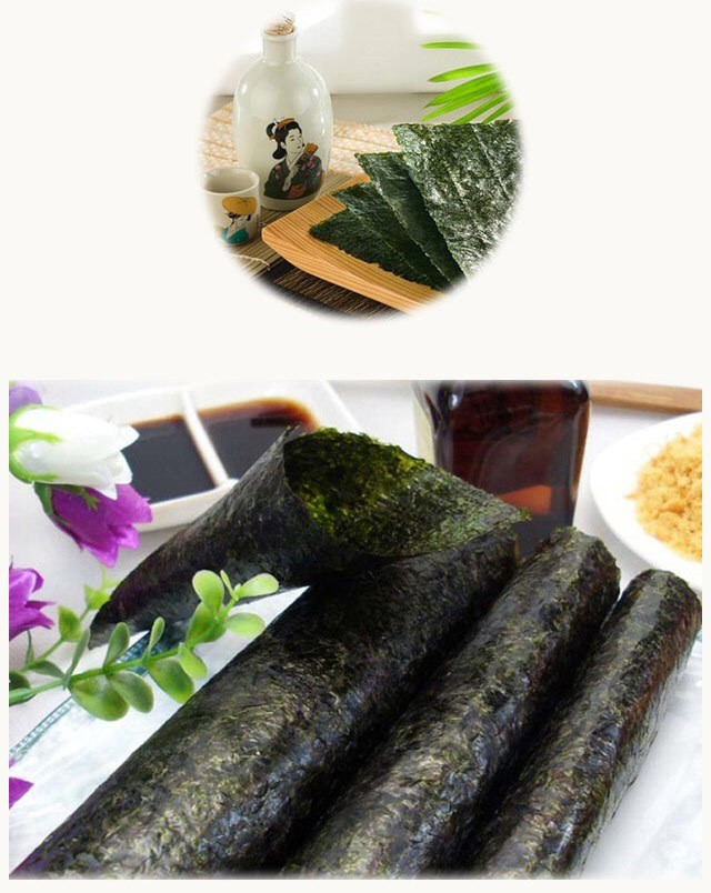 Sushi with green food quality of fresh seaweed
