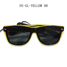 Hot Selling yellow EL Wire Sunglasses Sound Activated Light Up El Wire glasses
