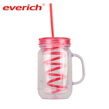 20oz Wholesale BPA Free Personalized Double Wall AS Plastic Mason Jar with Straw and Plastic Handle