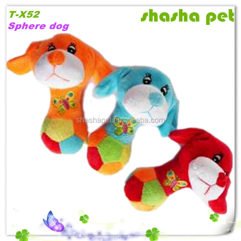 Sphere dog plush squeaker pet toy,pet product home made cat toy