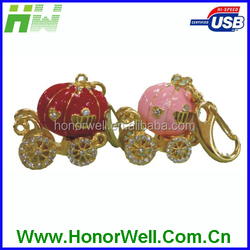 2014 OEM Red & Pink Pumpkin Cart of Seven Mice Jewelry Pendrive, Cute Funny Gift Pendrive