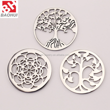 24/33MM Stainless Steel Tree Of Life Window Plate For Floating Memory Locket Pendant