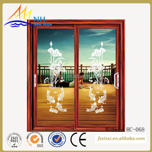 lotus and fish pattern customer size Aluminum alloy sliding doors