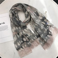 High quality cotton linen dots printed frayed scarf