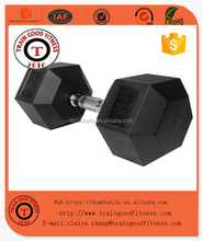 Fixed Rubber Coated Hex Dumbbell/Commercial gym equipment Accessory