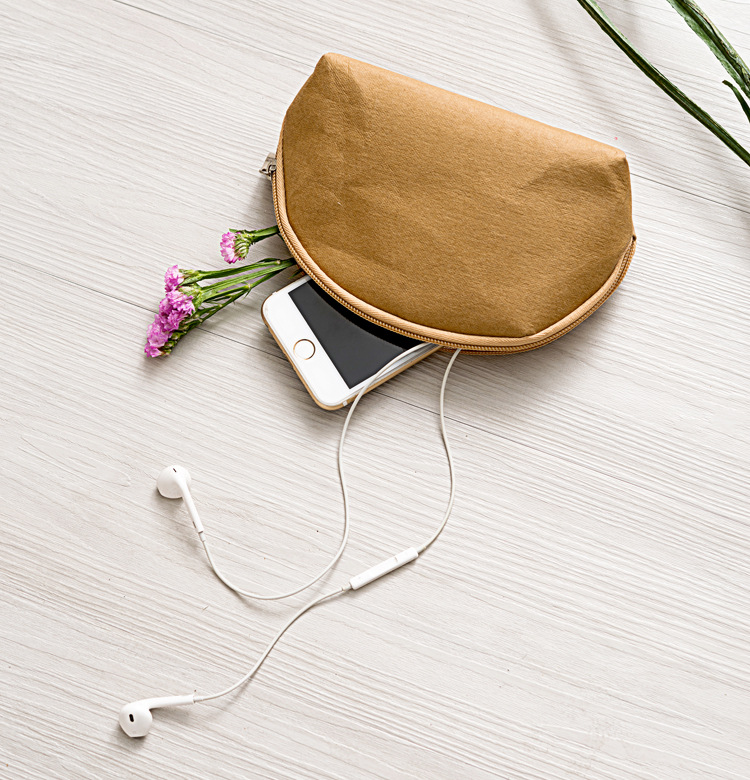Natural color washable Kraft paper cosmetic bag