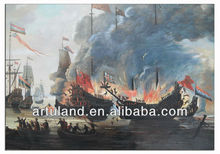 Hot sales quality pirate ship sea battle ocean seascape oil painting