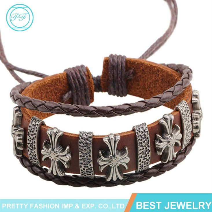 Exotic Style Bracelets Crucifix Accessories Genuine Leather Bracelets