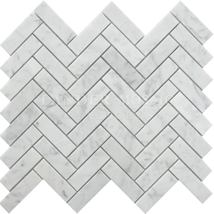 Bianco carrara white marble herringbone marble mosaic stone backsplash tile