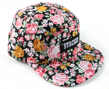 Front woven label logo 5 panel Hawaiian snapback hat Ladies sunvisor hat with flowers floral snapback