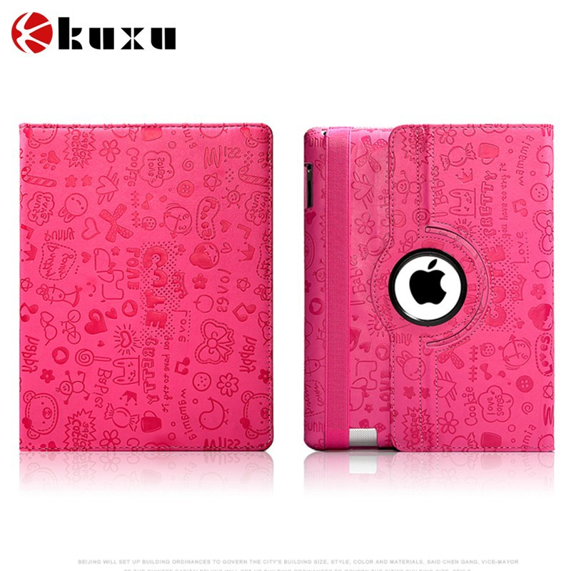 Rotating PU Case for I pad air cover