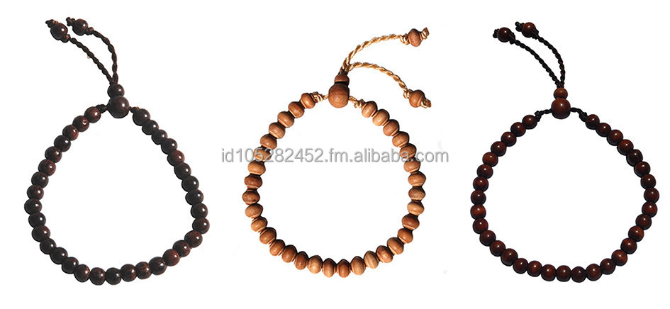 "Set of 3 Hand-crafted Orginal Exotic Wood 33-bead Tasbih Bracelets (Tamarind, Iron Wood ""Stigi"" and Sandalwood)"