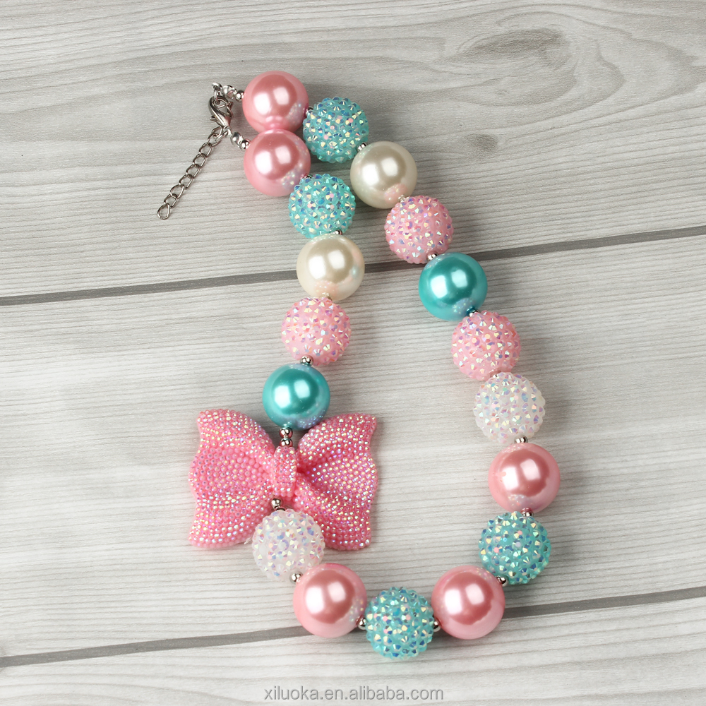 Fashion Colorful Bowknot DIY Kids Chunky Bubblegum colorful beaded design necklace
