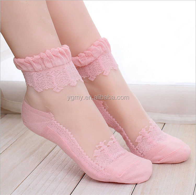 Hot sales New Colorful Ultrathin Transparent Lace Elastic Short Socks