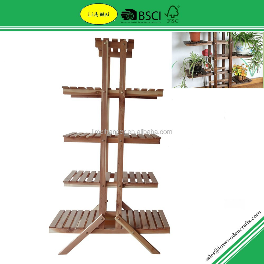 LMC501 Garden Plant Cedar Wooden Flower Pot Rack