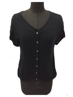Classic fit short sleeve button placket ladies sweater