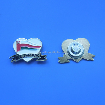 I LOVE OMAN Oman 2017 National Day Magnetic Brooch Pin Badge Heart