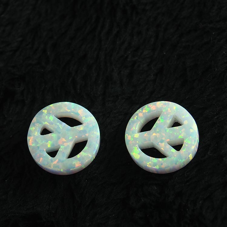 factory sale synthetic peace symbol opal stone price white gemstone