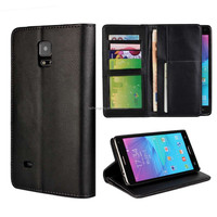 Black leather men phone case wallet flip phone cover case for samsung note 4