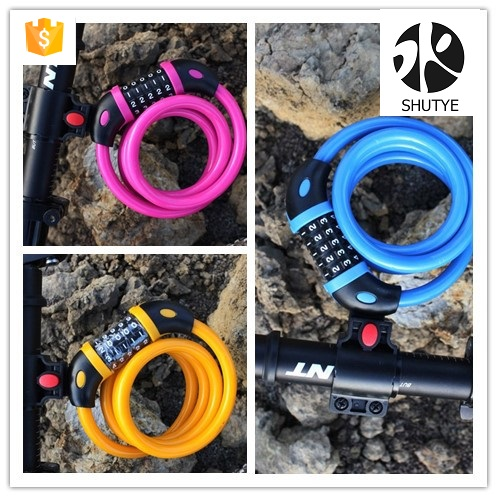 Bike Cable Basic Self Coiling Resettable Combination Cable Bike Locks with Mounting Bracket