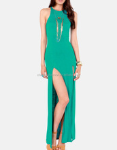 CHEFON Teal jersey racerback maxi long dress with high slits CLD0004