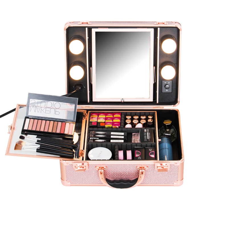 Koncai Best Selling Portable Makeup Case Beauty Case with lights aluminum beauty luggage sets with drawers,decorative box