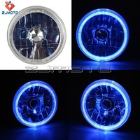 Hot Sale Universal Motorcycle Car H4 Super Blue light 55 - WT 4*6 Round Blue Halo Rims Sealed Beam Head Lights Lamp H4