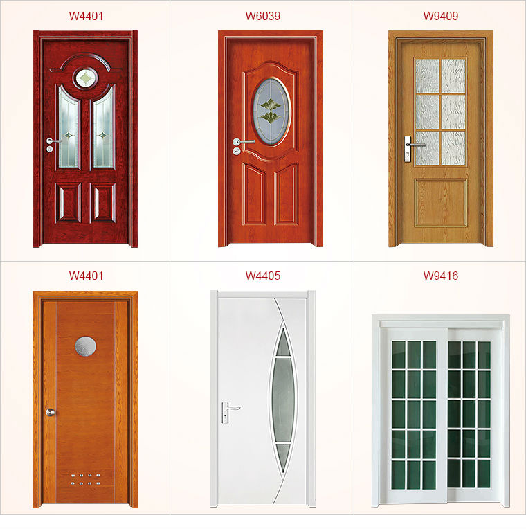 Fashionable Main Entrance Wooden Door Design W9312 With Inserted