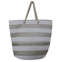 Promotional custom striped paper straw tote beach bag