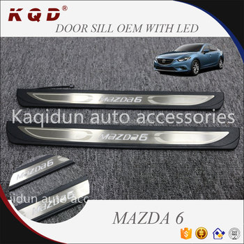 Brand new car interior accessories Stainless Steel OEM door sill with LED for mazda 6 2014~on mazda 6 accessories