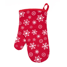 Christmas non slip snowflakes silicone pattern design cotton oven glove for Kitchen or BBQ grill