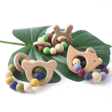 Chewable Silicone Beads Wooden Teether Ring Rattle Baby Newborn Gift Teething Bracelet