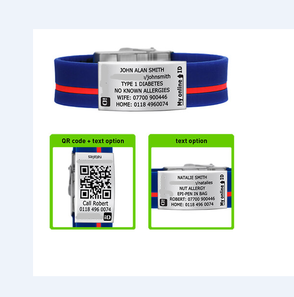 Emergency id wristband