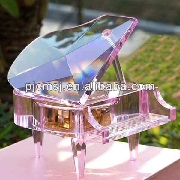 Crystal glass piano music box wedding decoration christmas gift 3d laser engrave