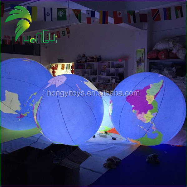 2016 ROHS Digital Printing Waterproof Led Lighted Balloons , Inflatable Earth Globes , Inflatable Balloons With High Quality