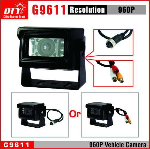 DTY Waterproof night vision IR-CUT car security camera with Aviation/CVBS/BNC connector optional, G9611