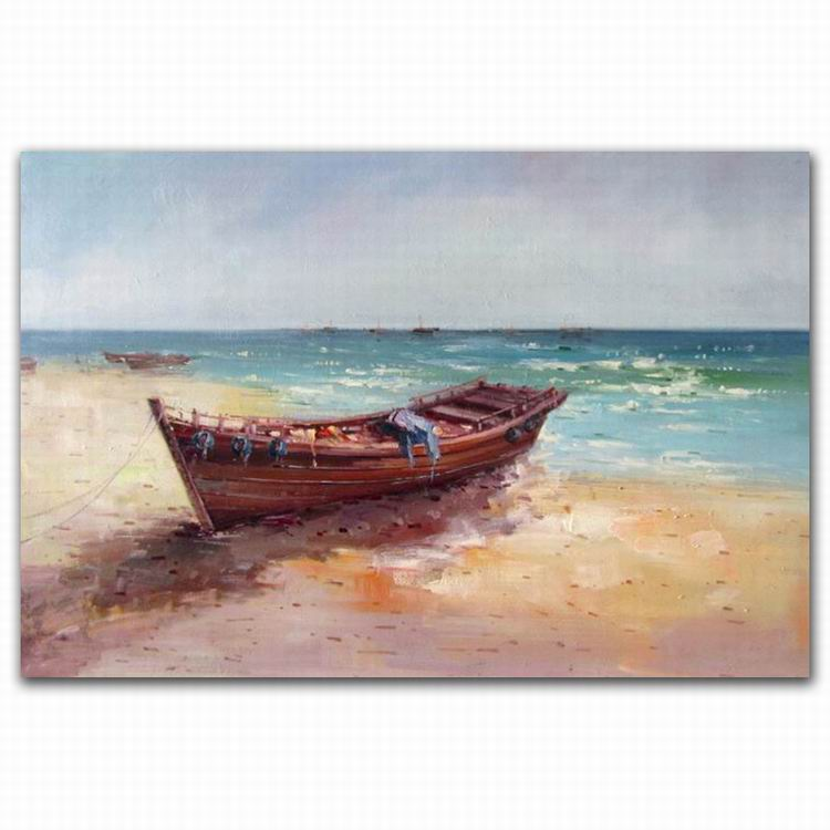 Beautiful Sea Scenery Painting Fish Boat For Room Decoration,Boat On The Beach Oil Painting