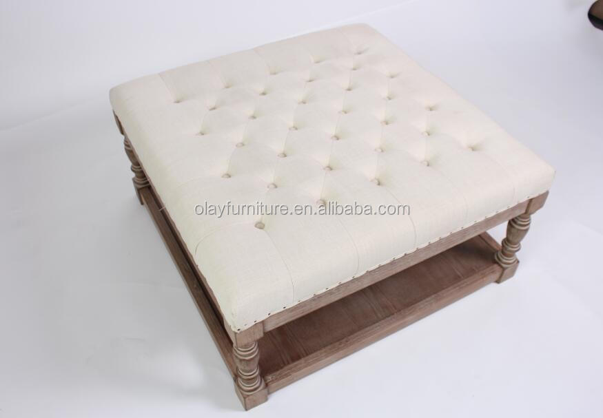 <strong>Antique</strong> square hot sale classic uphostered fabric tufted wooden coffee <strong>table</strong>