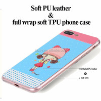 Wholesale 3D epoxy relief pu leather tpu mobile phone case and cover for iphone 7