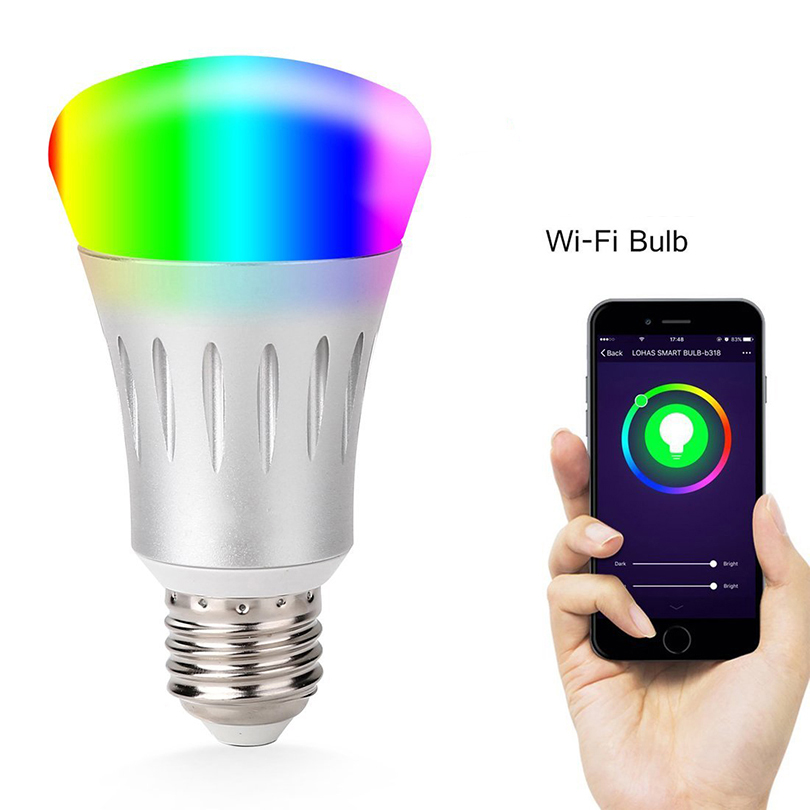 Home smart wifi control intelligent led bulb light <strong>E27</strong> with RGB color changing